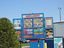 The menu of Hot n' Now as of April 26, 2014.