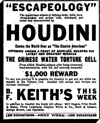 Chinese Water Torture Cell - Newspaper advertising Houdini's Chinese water torture cell act (1915)