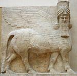 موسوعة حضارات العالم - حضارات العالم قديما - شخصيات حضارية - شخصيات قديمة 150px-Human_headed_winged_bull_facing.jpg