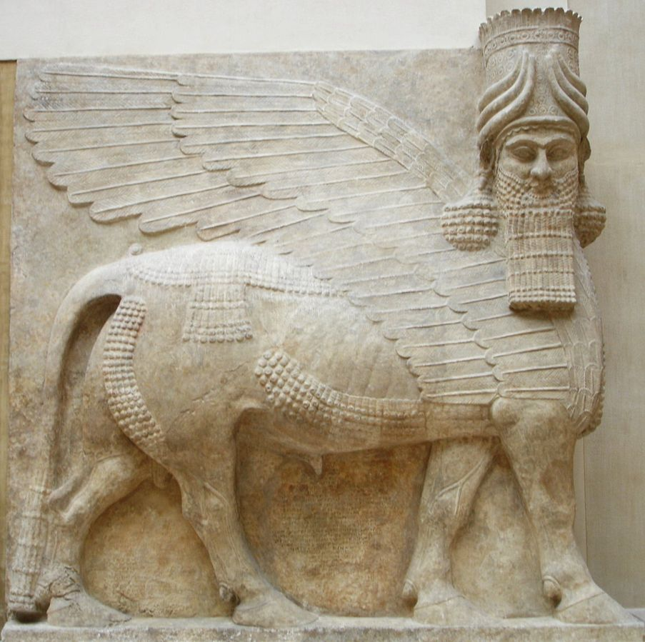 Reproduction of a winged bull with human head-AO 30043