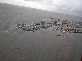 Tuckerton, New Jersey - Flooding in Tuckerton Beach following Superstorm Sandy on October 30, 2012.