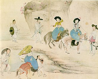 "Double Third Festival - ""Yeonso dapcheong"" drawn by Hyewon which depicts an outing in spring."