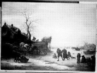Winter Scene with Figures on an Iced-over Canal
