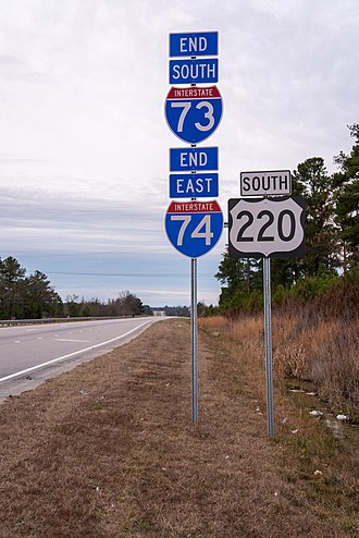 Interstate 74 - I-73/I-74 end near Ellerbe, NC