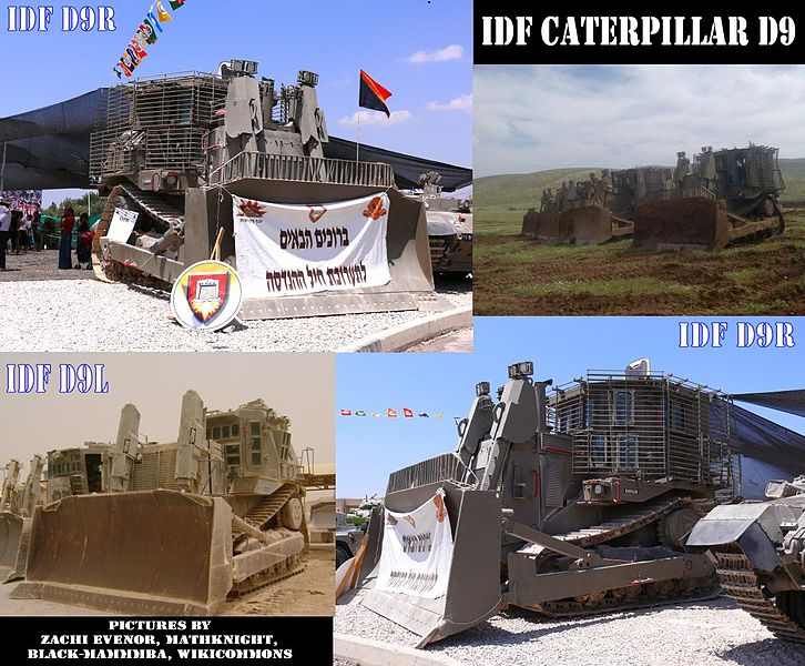 IDF Caterpillar D9R armored bulldozer, with slat armor add-on. Photoes by MathKnight and Zachi Evenor, Black Mammmba and Shpitz's friend.
