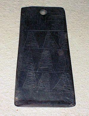 Marvão - Idol plaque or 'pedra de raia' type found among grave goods at a dolmen in Marvão (3rd millennium BCE)