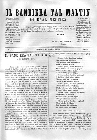 Manwel Dimech - First issue of Dimech's weekly Il-Bandiera tal-Maltin (The Flag of the Maltese) - 8 January 1898
