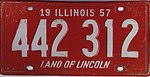 Illinois 1957 license plate - Number 442 312.jpg