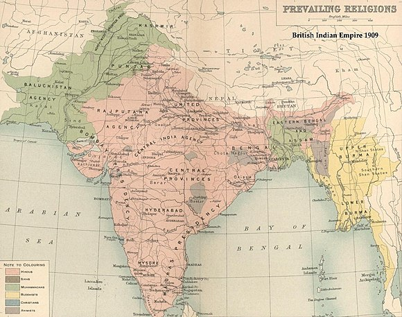 Map of the British Raj in 1909 showing Muslim majority areas in green, including modern-day Bangladesh in the east and Pakistan in the west. India religion map 1909 en.jpg