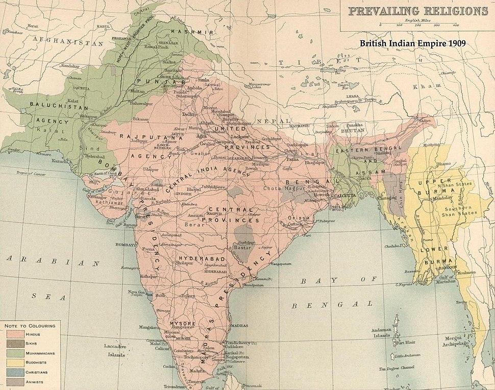 India religion map 1909 en
