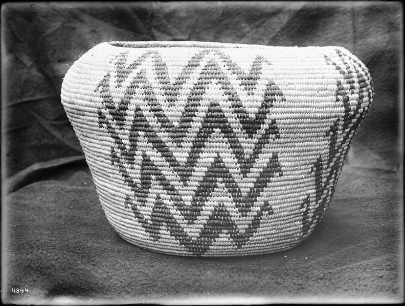 File:Indian basket displayed in front of a cloth backdrop, ca.1900 (CHS-4844).jpg