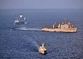 Indonesian navy, U.S. Navy and U.S. Coast Guard ships steam through the Java Sea June 6, 2012, while conducting ship formation exercises during the at-sea phase of Cooperation Afloat Readiness and Training 120606-N-HI414-802.jpg