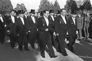Culture of Turkey - Members of the Bayar cabinet wearing a white tie and top hat. The second president of Turkey İsmet İnönü is on the far right.