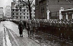 Volksdeutscher Selbstschutz - Nazi Mayor of Bydgoszcz Werner Kampe, with Josef Meier and Ludolf von Alvensleben - leader of Selbstschutz in Pomerania during inspection of Volksdeutscher Selbstschutz in 1939.
