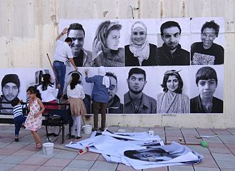 "Contemporary art - Irbid, Jordan, ""We are Arabs. We are Humans"". Inside Out is a global participatory art project, initiated by the French photographer JR, an example of Street art"