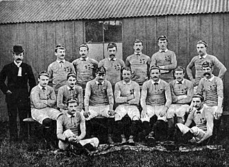 Irish Rugby Football Union - The 1887 Ireland side sporting the 5 sprig shamrock