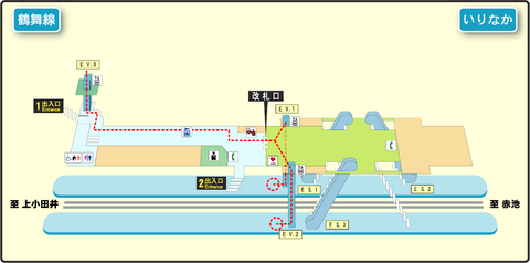 Irinaka station map Nagoya subway's Tsurumai line 2014.png