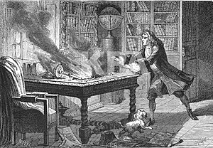 Isaac Newton's occult studies - Image: Isaac Newton laboratory fire