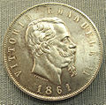 Italia, 5 lire di vittorio emanuele II, 1861.JPG