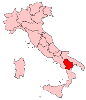 Music of Basilicata - Image: Italy Regions Basilicata Map