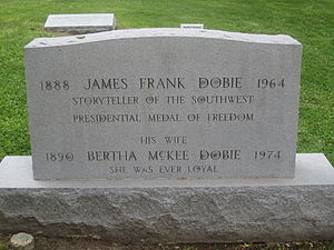 J. Frank Dobie - Graves of J. Frank and Bertha Dobie at Texas State Cemetery in Austin, Texas
