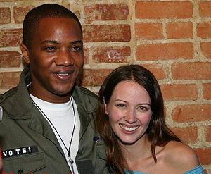 J. August Richards - Richards with Amy Acker at a 2004 John Kerry fund raiser.