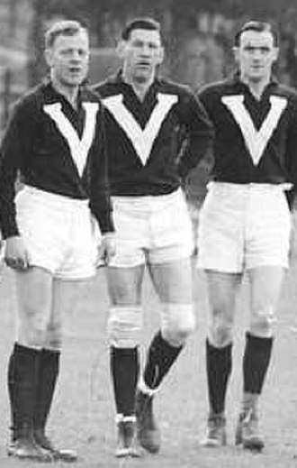 Jack Dyer - Jim Park of Carlton, Jack Dyer (age 24), and Phonse Kyne of Collingwood, at the Adelaide Oval, before the 1938 interstate match against South Australia
