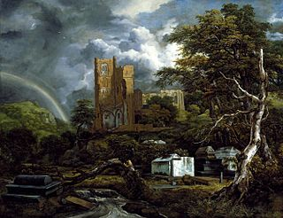 <i>The Jewish Cemetery</i> painting by Jacob van Ruisdael in the Detroit Institute of Arts