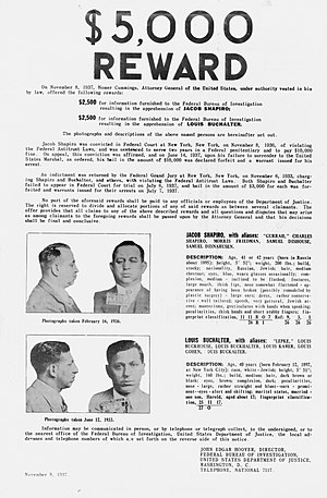 Murder, Inc. - An FBI wanted poster for Jacob Shapiro and Louis Buchalter.
