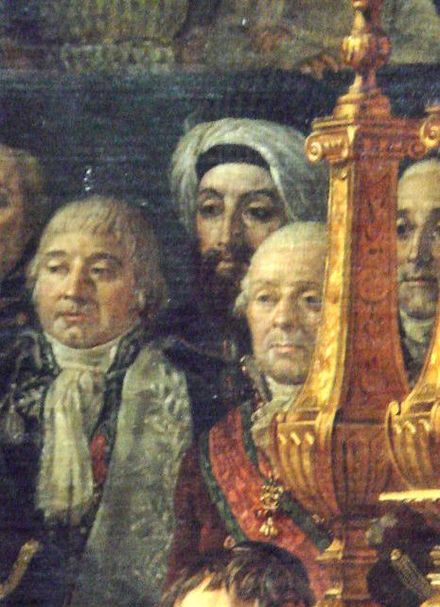 Turbaned Ottoman ambassador Halet Efendi in The Coronation of Napoleon (detail). Jacques-Louis David The Coronation of Napoleon Halet Efendi detail.jpg