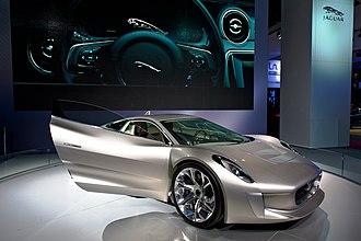 Swan doors - Jaguar C-X75 concept with passenger side Swan door open