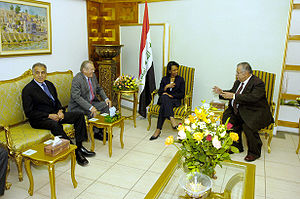 Zalmay Khalilzad - Khalilzad with Donald Rumsfeld, Condoleezza Rice, and Iraqi President Jalal Talabani in April 2006.