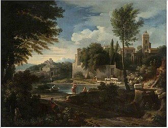 Jan Frans van Bloemen - Landscape with a River and a Walled Town