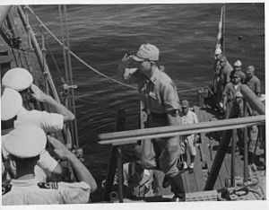 Operation Jurist - The Japanese surrender delegation boarding the HMS ''Nelson'' on 2 September 1945.