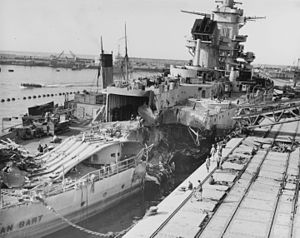 French battleship Jean Bart (1940) - Damaged Jean Bart photographed in Casablanca on November 16, 1942