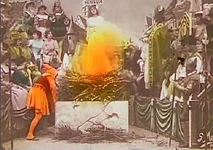 Joan of Arc (1900 film) - Joan burning at the stake at the climax of the film