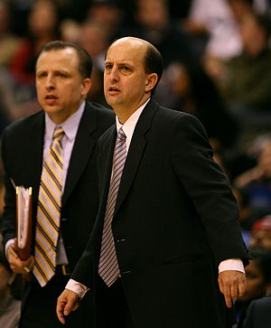 Tom Thibodeau - Thibodeau (left) as part of the Houston Rockets coaching staff with then head coach Jeff Van Gundy