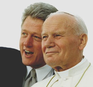 World Youth Day 1993 - President Bill Clinton with Pope John Paul II on 12 August 1993 in Denver.