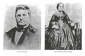John Baptiste Ford - Pictured are Captain John B Ford and his wife Mary Bowers Ford, circa 1864.