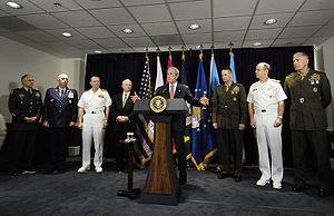 Iraq War troop surge of 2007 - Bush makes a statement to reporters on the war in Iraq, following a meeting with senior US military leaders at the Pentagon, May 2007.