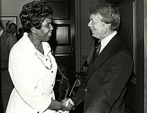 Barbara Jordan - Jordan and President Carter, ca. 1977.  Photo by Dev O'Neill.