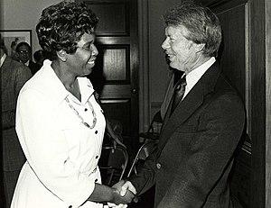 Barbara Jordan - Jordan and President Carter, ca. 1977.  Photo by Dev O'Neill.