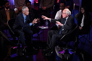 Jorge Ramos (news anchor) - Ramos interviewing Democratic presidential candidate and United States senator of Vermont Bernie Sanders, January 2016