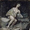 Joven semidesnuda recostada en una roca, Francisco de Goya.jpg