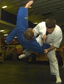 Tachi-waza ends and ne-waza begins once the jūdōka go to the ground.