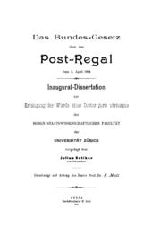Почтовая регалия Википедия Титульный лист диссертации посвящённой федеральному закону Швейцарии о почтовой регалии и защищённой Юлиусом Отикером в Цюрихском университете в 1894 году