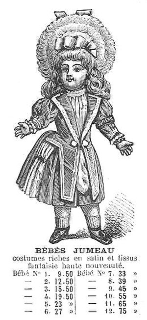 Bisque doll - Catalogue engraving of a bisque doll from the French company Jumeau, c. 1880