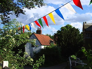 Bunting (textile) - Bunting in the form of triangular flags in the West Midlands, United Kingdom