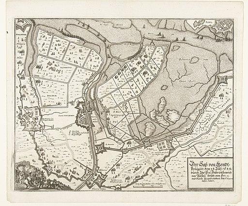 Kaart van beleg en verovering van Sas-van-Gent, 1644 Der Sass von Gendt Belägert den 28. Juli 1644. durch Ihr Ex Fridrich Henrich von Nassau Prinz von Or etc. und durch Accord erobert den 3 Septem, dieses Jahres (titel , RP-P-OB-81.539