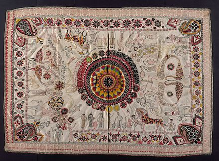 Embroidery on Nakshi kantha (embroidered quilt), centuries-old Bengali art tradition Kantha (Quilt) LACMA AC1994.131.1.jpg